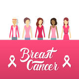 Young Girl Group Breast Cancer Awareness Concept Royalty Free Stock Image