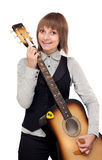 Young girl with guitar Stock Image