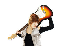Young girl with a guitar Stock Images