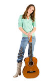 Young girl with guitar. Royalty Free Stock Photos