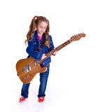 Young girl with guitar. On white background Royalty Free Stock Image