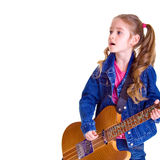 Young girl with guitar. On white background Royalty Free Stock Photo