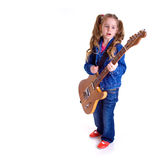 Young girl with guitar. On white background Stock Photos