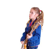Young girl with guitar. On white background Stock Photo