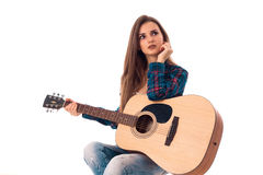 Young girl with guitar Royalty Free Stock Photography