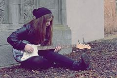 Young girl with guitar Stock Photo