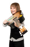 Young girl with guitar in type of the violin Royalty Free Stock Image