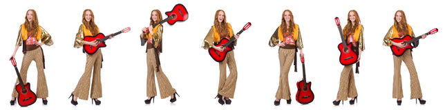 The young girl with guitar on white Royalty Free Stock Photos