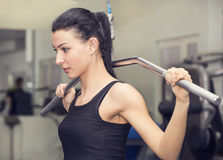 Young girl in the gym for sports Stock Photo