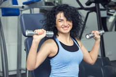 Young girl in the gym for sports Royalty Free Stock Photography