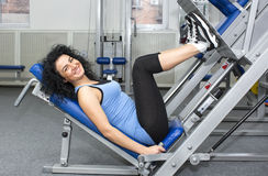 Young girl in the gym for sports Stock Photos