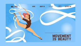 Young girl gymnast exercise sport athlete vector illustration. Training performance strength gymnastics balance people. Landing page. Championship workout vector illustration