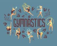 Young girl gymnast exercise sport athlete vector illustration. Training performance strength gymnastics balance people. Poster. Championship workout acrobat royalty free illustration