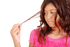 Young girl with hair problems. Isolated Young girl with hair problems Stock Photography