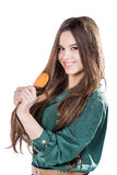 Young girl with hairbrush isolated.smile. Young girl with hairbrush isolated Stock Images