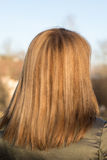 Young  girl hairs outdoor. Young blond girl hairs outdoor. back view Stock Photo