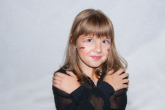 Young girl Halloween make up. Pretty Young girl Halloween make up Royalty Free Stock Photos