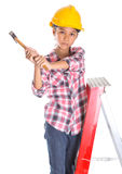 Young Girl With Hammer II Royalty Free Stock Photos