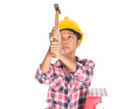 Young Girl With Hammer IV Stock Images
