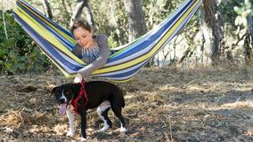 Young Girl in a Hammock Playing with Dog Stock Photo