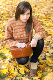 Young girl with handbag Royalty Free Stock Photography
