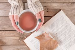 Woman hands with sweater holding cup of tea and open book with dry fallen leaf. Young girl hands with sweater holding cup of tea and open book with dry fallen stock image