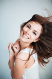 The young girl happily laughs stock image
