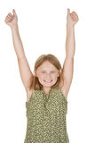 Young girl happy arms raised Royalty Free Stock Photos