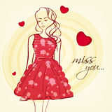 Young girl for Happy Valentines Day celebration. Young girl in red dress with text Miss You on hearts decorated background for Happy Valentines Day celebration vector illustration