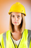 Young girl with hard hat Royalty Free Stock Images