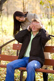 Young girl has closed its eyes a young man Stock Photos