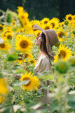 Young girl in a hat on a field of sunflowers Royalty Free Stock Image