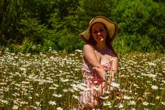 Young girl with hat sitting on a meadow with daisies royalty free stock photography
