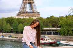 Young girl have fun in the Paris Royalty Free Stock Image