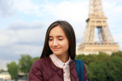 Young girl have fun in the Paris Stock Image