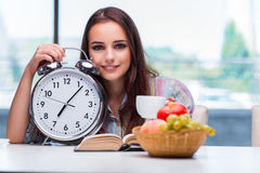 The young girl having breakfast on the morning Royalty Free Stock Photo