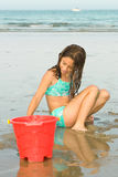 Young Girl Having Fun. Playing In The Sand On Vacation Royalty Free Stock Image