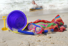 Young girl having fun at beach Royalty Free Stock Photos