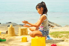 Young Girl Having Fun At The Beach Stock Photos