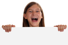 Young girl having fun with an empty sign Stock Photo