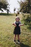 A young girl is having fun in the farm Royalty Free Stock Photography