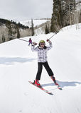Young Girl Having Fun on the Ski Slopes Royalty Free Stock Photos