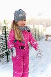 Young girl having fun in winter Royalty Free Stock Images