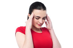 Young girl having serious headache Royalty Free Stock Image