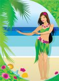 Young girl in Hawaiian clothes. Vector stock illustration