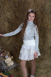 Young girl in the hayloft Stock Image
