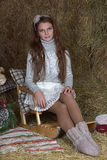 Young girl in the hayloft Royalty Free Stock Image