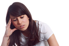 Young girl with headache Stock Photo