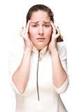 Young girl with a headache Stock Photos