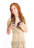 Young girl with headphones Stock Photography